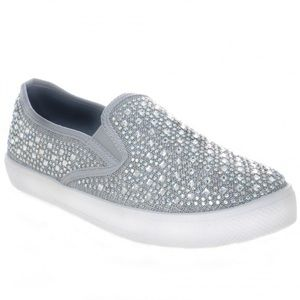 Shoes - Silver Jeweled Slip On Sneakers